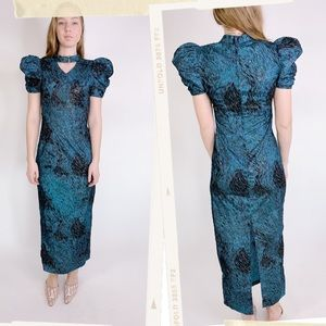 Vintage Dresses - Vtg 80s Puffy Sleeve Feather Glitter Wiggle Dress